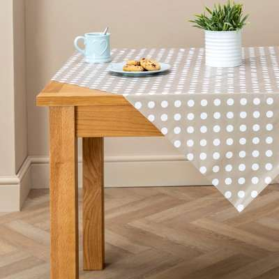 Taupe Dotty PVC Tablecloth Brown/White
