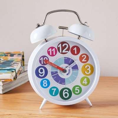 Tell The Time 18cm Alarm Clock Multi White