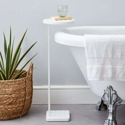 Tongue and Groove White Bath Table White