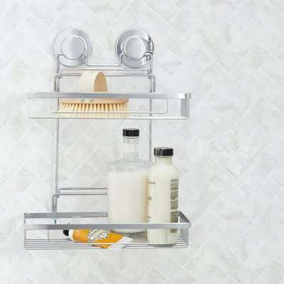 Twist n Lock Rectangle Two Tier Shower Caddy Silver