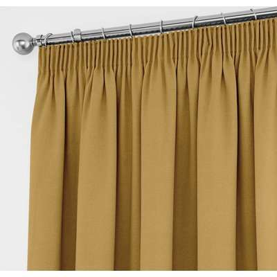 Tyla Ochre Thermal Blackout Pencil Pleat Curtains Yellow