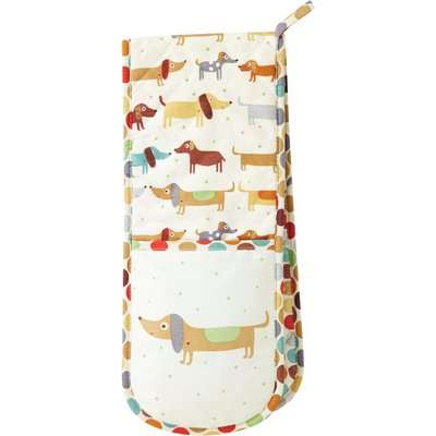 Ulster Weavers Hot Dog Sausage Dog Cotton Apron Off White, Brown and Green