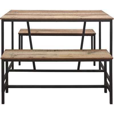 Urban Rustic Dining Table and Bench Set Brown and Black