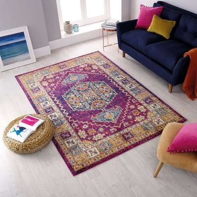 Urban Traditional Rug Pink, Yellow and Blue