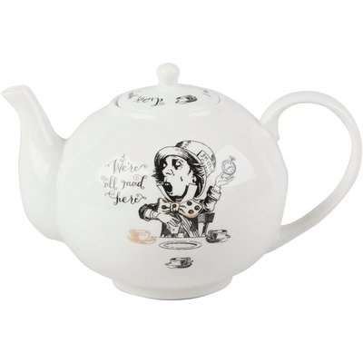V&A Alice in Wonderland 6 Cup Teapot White