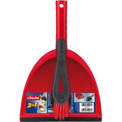 Vileda 2in1 Dustpan & Brush Set Red