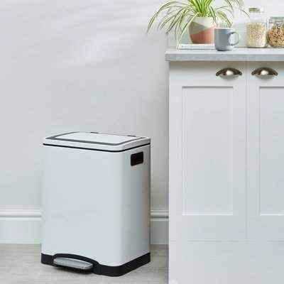 White Gloss 30L Low Recycling Bin White