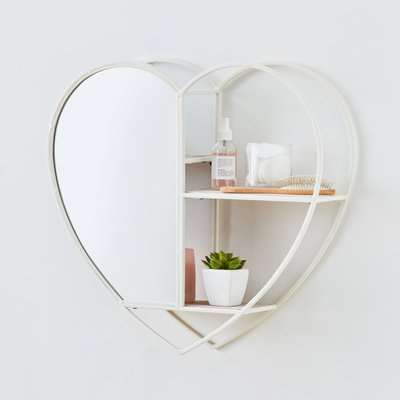 White Heart Mirrored Metal Shelf White