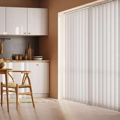 White Stripe Cordless Vertical Blind White
