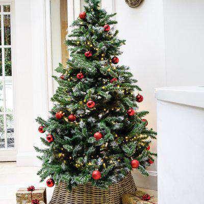 Wicker Square Christmas Tree Skirt Natural