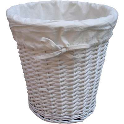 Wicker Waste Bin Painted with Liner White