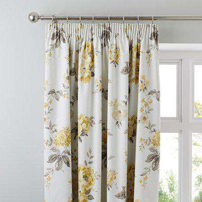 Windermere Yellow Thermal Pencil Pleat Curtains Yellow and Green