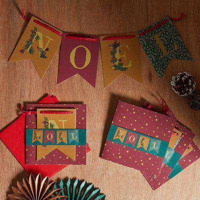Winter Solstice Pack of 4 Detachable Bunting Christmas Cards Blue/Red/Yellow