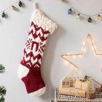 Wool Couture Personalised Christmas Stocking Knitting Kit Red