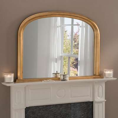 Yearn Contemporary Overmantle Mirror 112x77cm Gold Gold