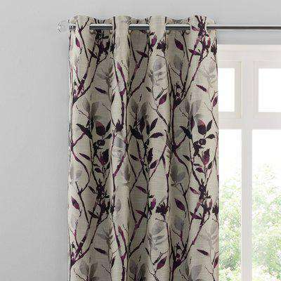Zen Plum Jacquard Eyelet Curtains Purple and Grey