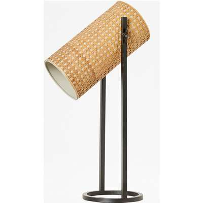 French Cane Table Lamp - natural/black