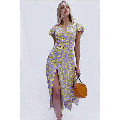 Islanna Crepe Printed Midi Dress - soft violet multi