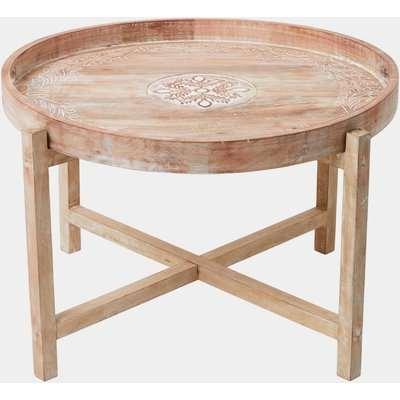 Mandala Wooden Coffee Table - natural wood