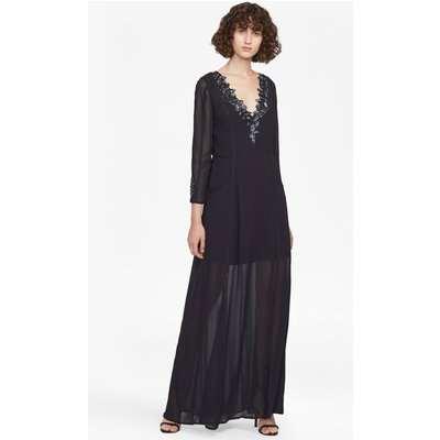 Tessie Drape V Neck Maxi Dress - utility blue
