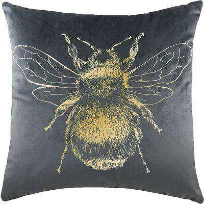 Gold Bee Velvet Cushion Grey