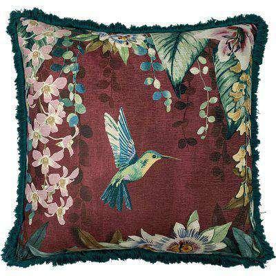 Hanging Garden Floral Cushion Aubergine