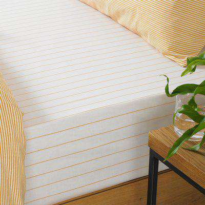 Holbury Striped Fitted Bed Sheet Ochre