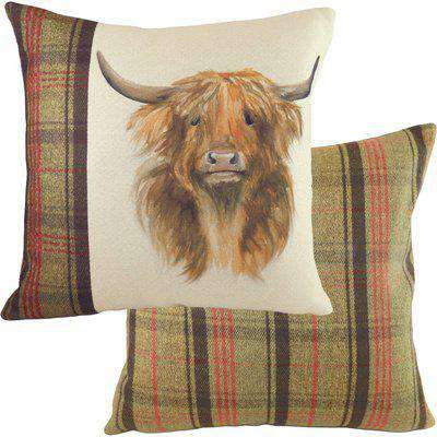 Hunter Highland Cow Square Cushion Multicolour