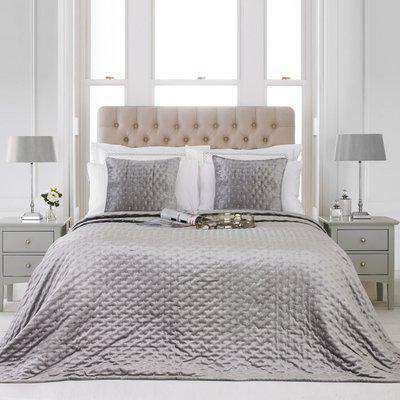 Moonlight Embroidered Bedspread Silver