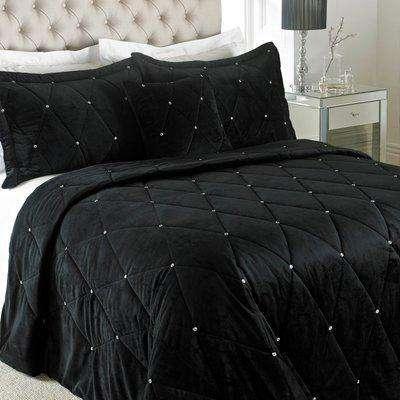 New Diamante Bedspread Black