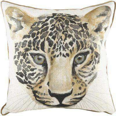 Safari Leopard Cushion White