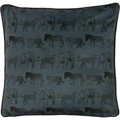 Savanna Leopard Cushion Petrol