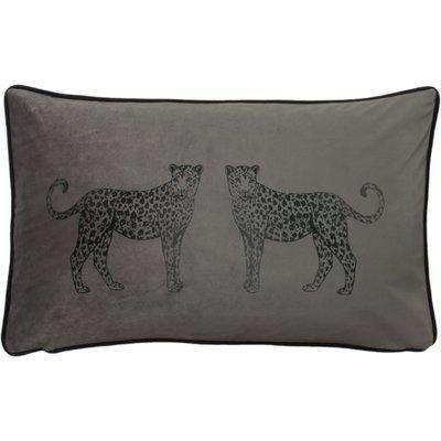 Savanna Leopard Rectangular Cushion Steel