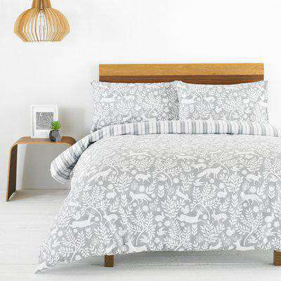 Skandi Woodland Brushed Cotton Duvet Cover Set Grey