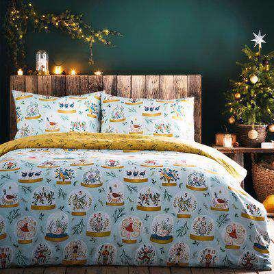 Twelve Days of Christmas Festive Duvet Cover Set Blue
