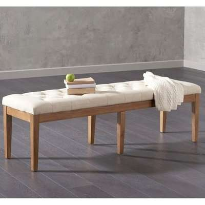 Absoluta Fabric Large Dining Bench In Beige