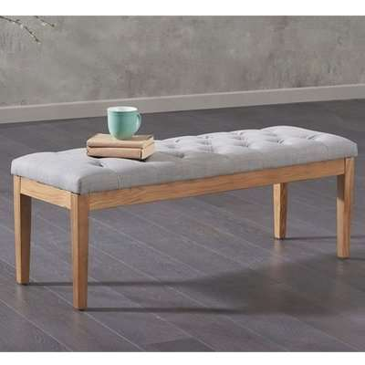 Absoluta Fabric Small Dining Bench In Grey