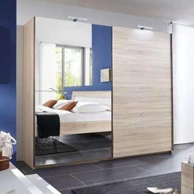 Adda Oak Sliding Oak Wardrobe With Full Length Mirror