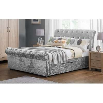 Agata King Size Bed In Silver Crushed Velvet With 2 Drawers