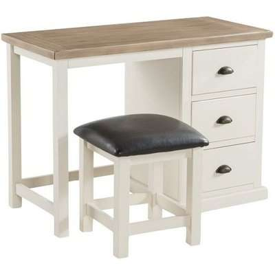 Alaya Dressing Table With Stool In Stone White Finish