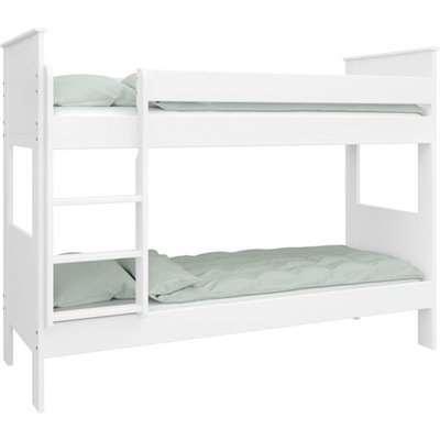 Alba Wooden Children Narrow Bunk Bed In White