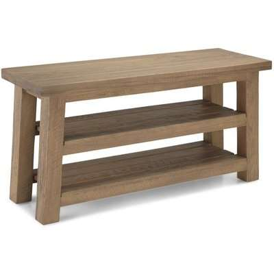 Albas Wooden Shoe Bench In Planked Solid Oak With 2 Shelves