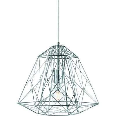 Albion Ceiling Pendant Light In Chrome Geometric Cage Frame
