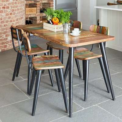 Albion Large Dining Table In Reclaimed Wood With 4 Chairs