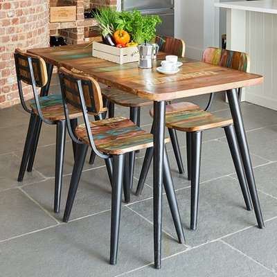 Albion Small Dining Table In Reclaimed Wood With 4 Chairs