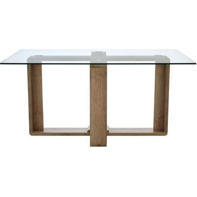 Alfratos Clear Tempered Glass Dining Table With Veneer Legs