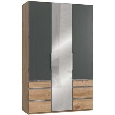 Alkesia Mirrored 5 Door Wardrobe In Graphite And Planked Oak