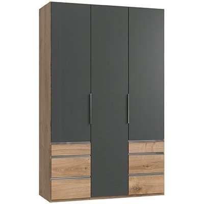 Alkesia Wooden 5 Door Wardrobe In Graphite And Planked Oak