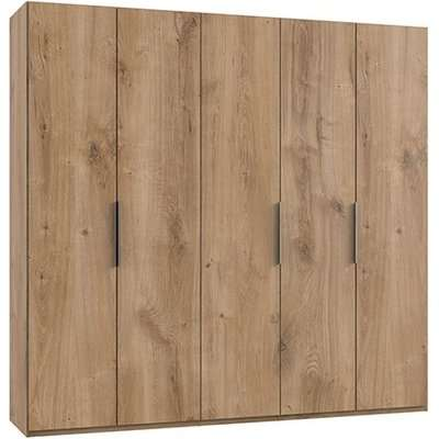 Alkesia Wooden Wardrobe In Planked Oak With 5 Doors