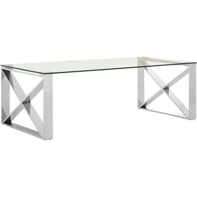 Alluras Coffee Table In Chrome With White Faux Marble Top